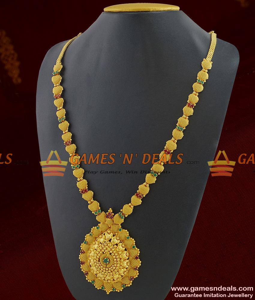 ARRG237 - Peacock Feathers Very Big Grand Semi Precious Full Stone Imitation Jewelry