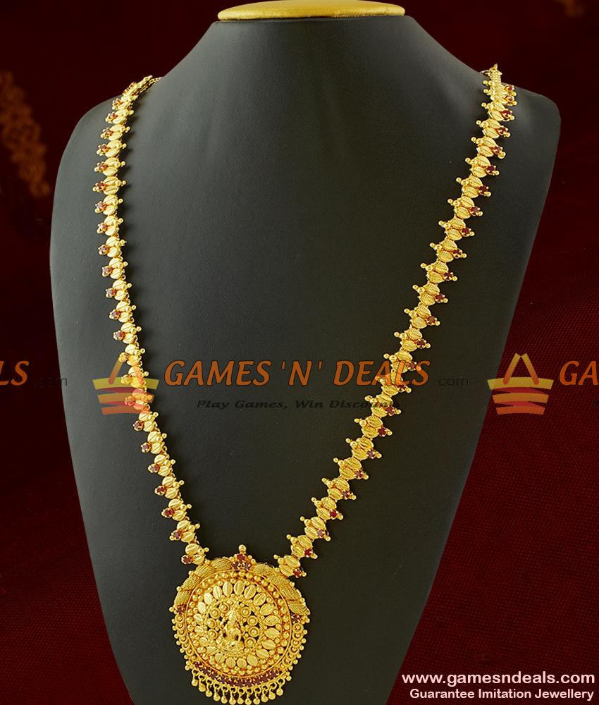 Laxmi Haaram Set Semi Precious AD Red Stones Imitation Jewelry ARRG306