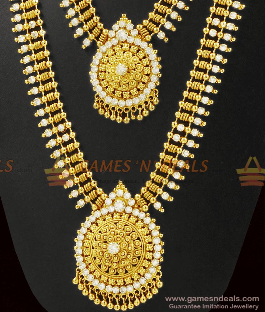 Sparkling Full White Stone Necklace Haram Combo Set ARRG340