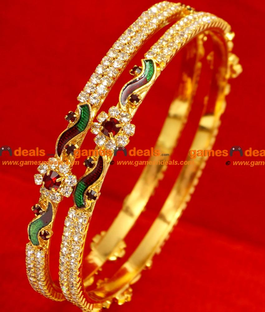BG053-2.4 Size South Indian Imitation Bangle Red Stone Flower ...
