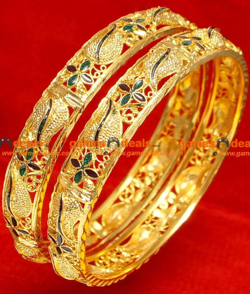 BG054-2.6 Size Gold Plated Imitation Enamel Mango Bangle Design ...