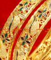 BG054-2.6 Size Gold Plated Imitation Enamel Mango Bangle Design Daily Wear