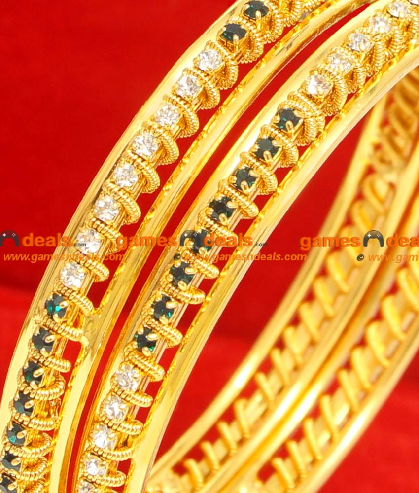 BG062-2.4 Size Gold Plated Imitation Thin Daily Wear White Green Stone Bangle