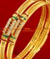 BG072-2.8 Size Bollywood Type Enamel Party Wear Red White Stone Bangle