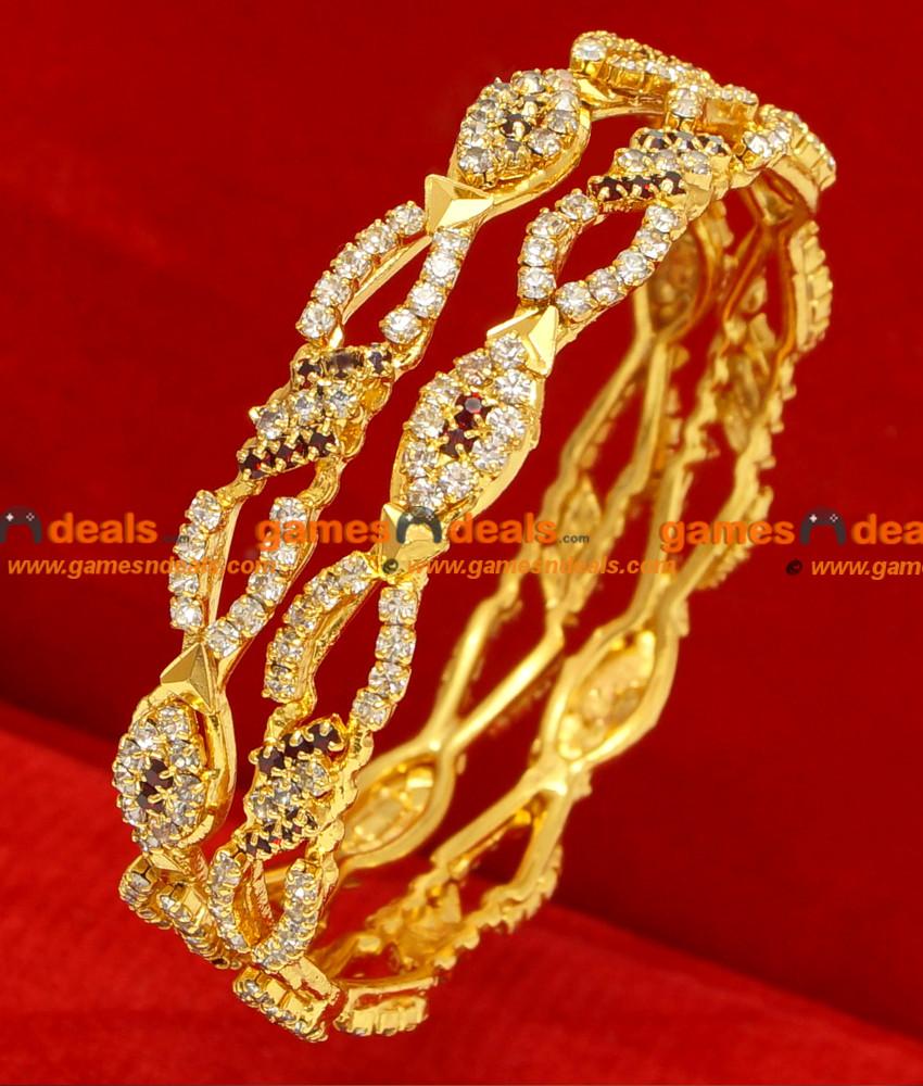 BG074-2.6 Size Gold Plated Bangle Party Wear Imitation Stone Bangles