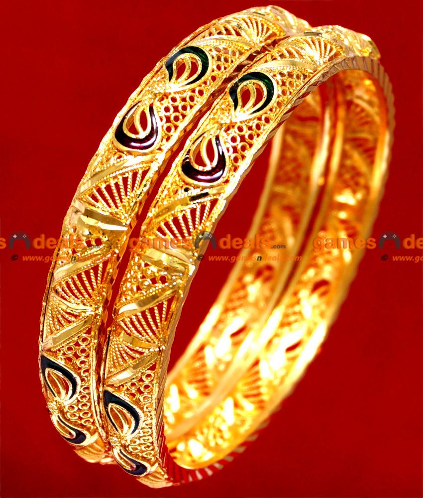 BR023-2.8 Size South Indian Gold Plated Bangle Kerala Ennamel Design