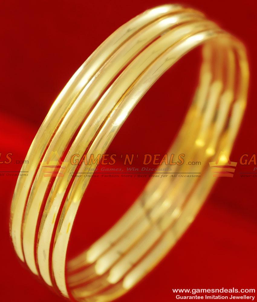 BR049-2.8 Size Light Weight Gold Plated Plain Ethnic Wear Imitation Bangle