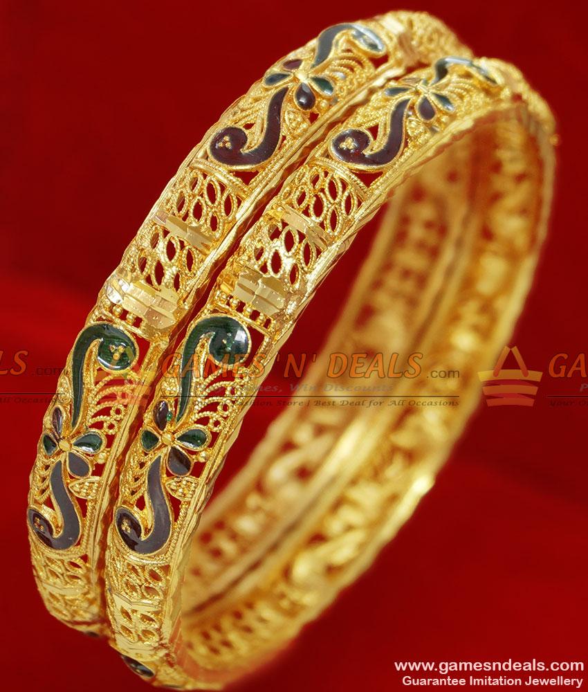 BR051-2.6 Size Gold Plated Kerala Enamel Flower ...