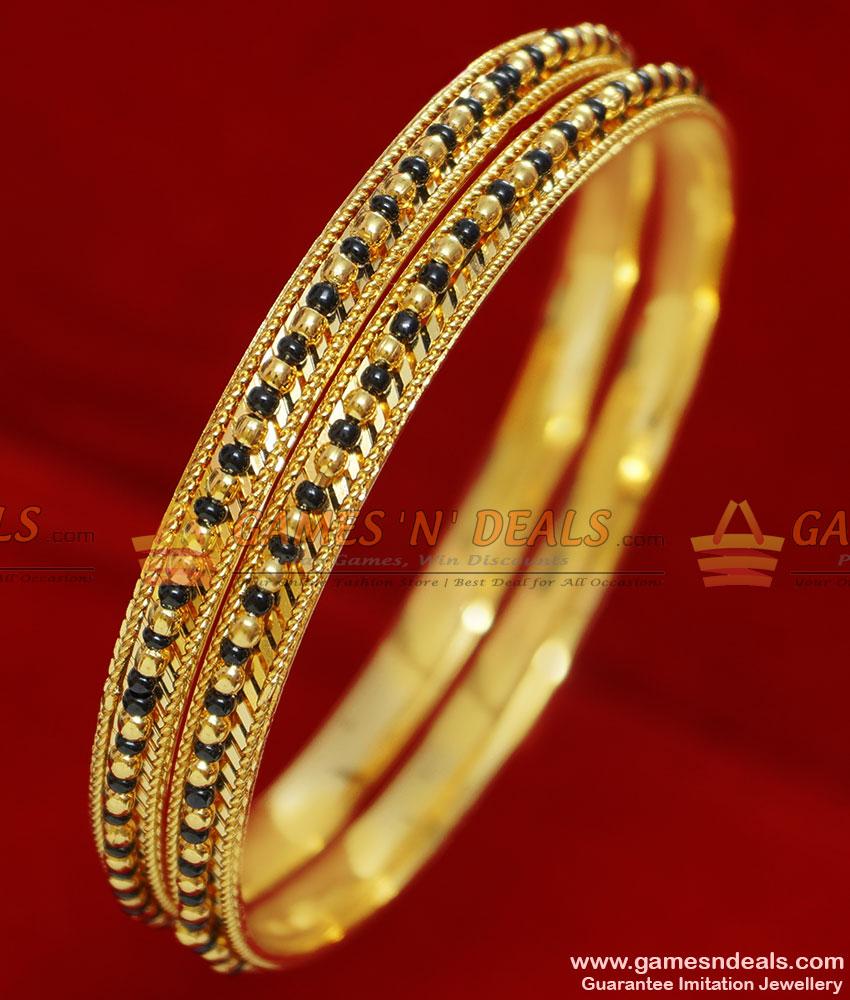BR065-2.6 Size Gold Plated Traditional Karugamani Black Beads Bangles