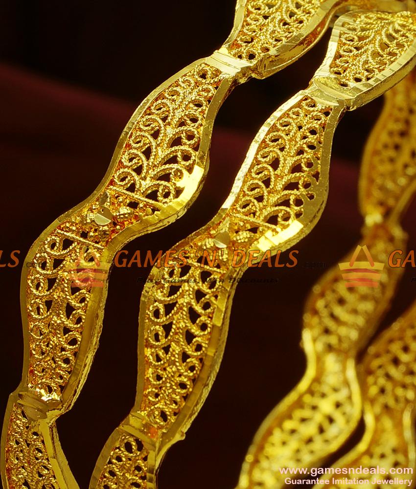 BR102-2.4 Size South Indian Gold Like Design Curvy Irregular Bangles Online