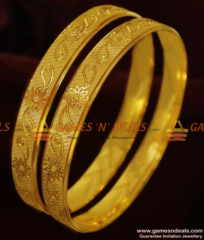 BR131-2.8 Size Self Work Flower Carved Gold Like Guarantee Imitation Bangles