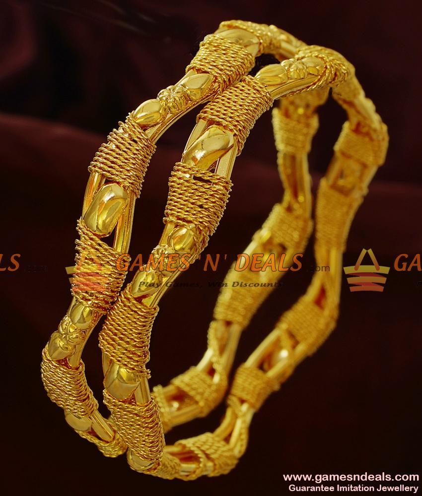 BR135-2.6 Size South Indian Gold Like Design Curvy Irregular Bangles Online