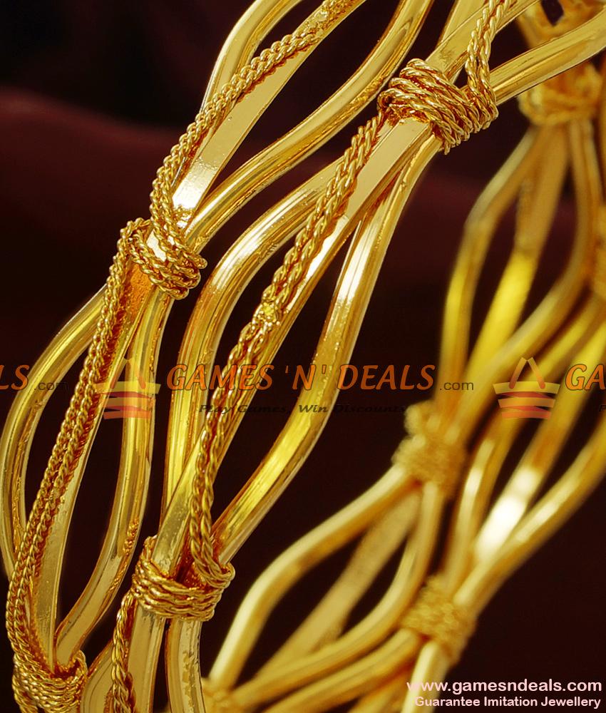 BR146-2.6 Size Chidambaram Gold Plated Curvy Design Guarantee Bangles Online