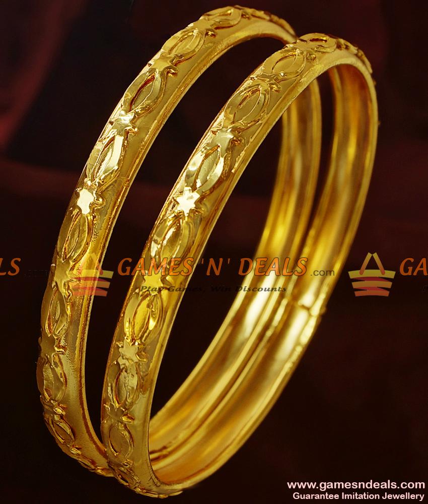 BR191-2.6 Size Pure Gold Plated Plain Design Imitation Bangles Buy Online