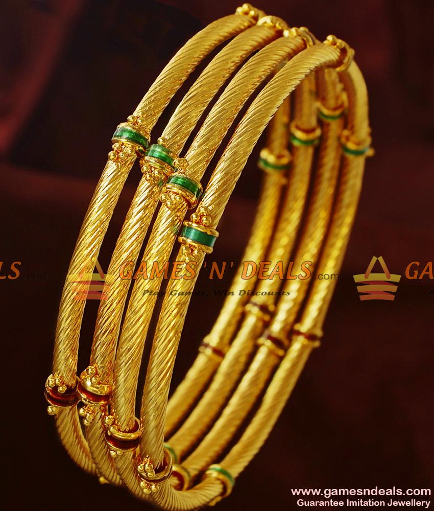 BR212-2.8 Size Handmade Enamel Bangles Gold Like Design Imitation Jewelry