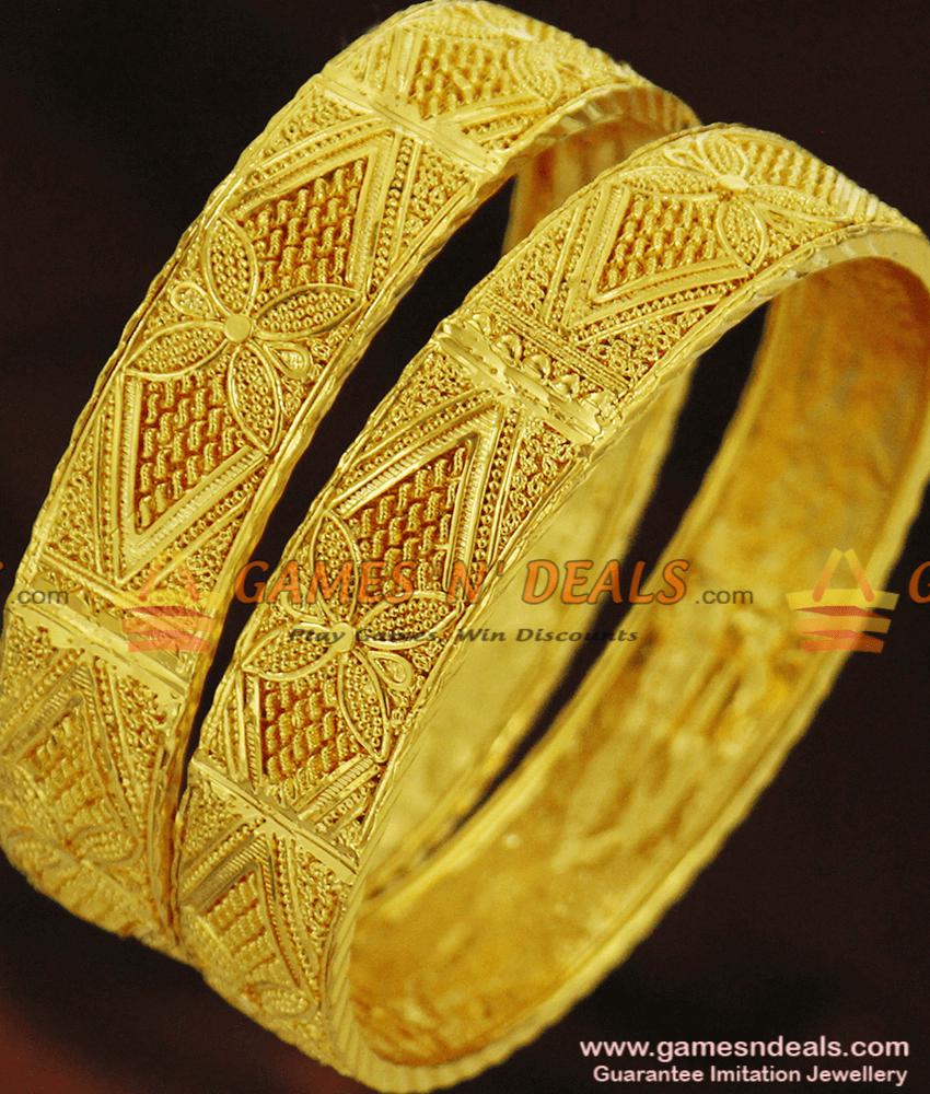 BR257-2.6 Size Set of 2 One Gram Gold Forming Bangle Set for Women