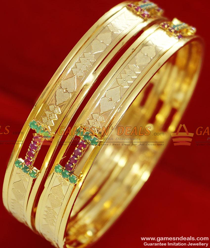 BS028-2.8 Size Gold Plated Ruby Stone Matt Finish Party Wear Kada Bangle