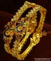 BS046-2.8 Size Guarantee Bangle Peacock Enamel Design Bridal Wear AD Stone Jewelry