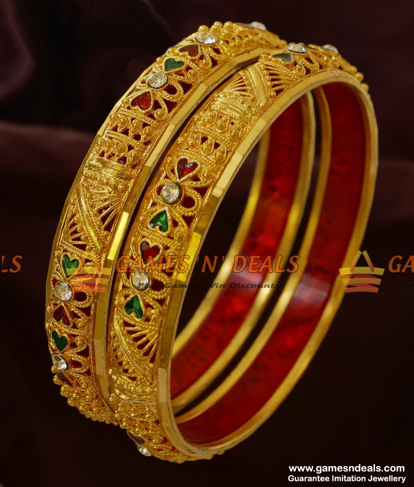 NGBR004-2.6 Size Non Guarantee 2 Pieces Stone and Enamel Bangle Design