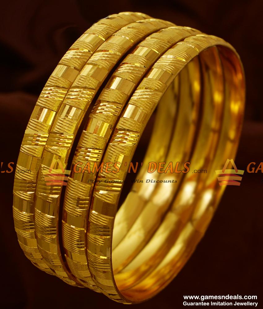 NGBR005-2.4 Size 4 pieces Non Guarantee Gold Like Imitation Bangle Design