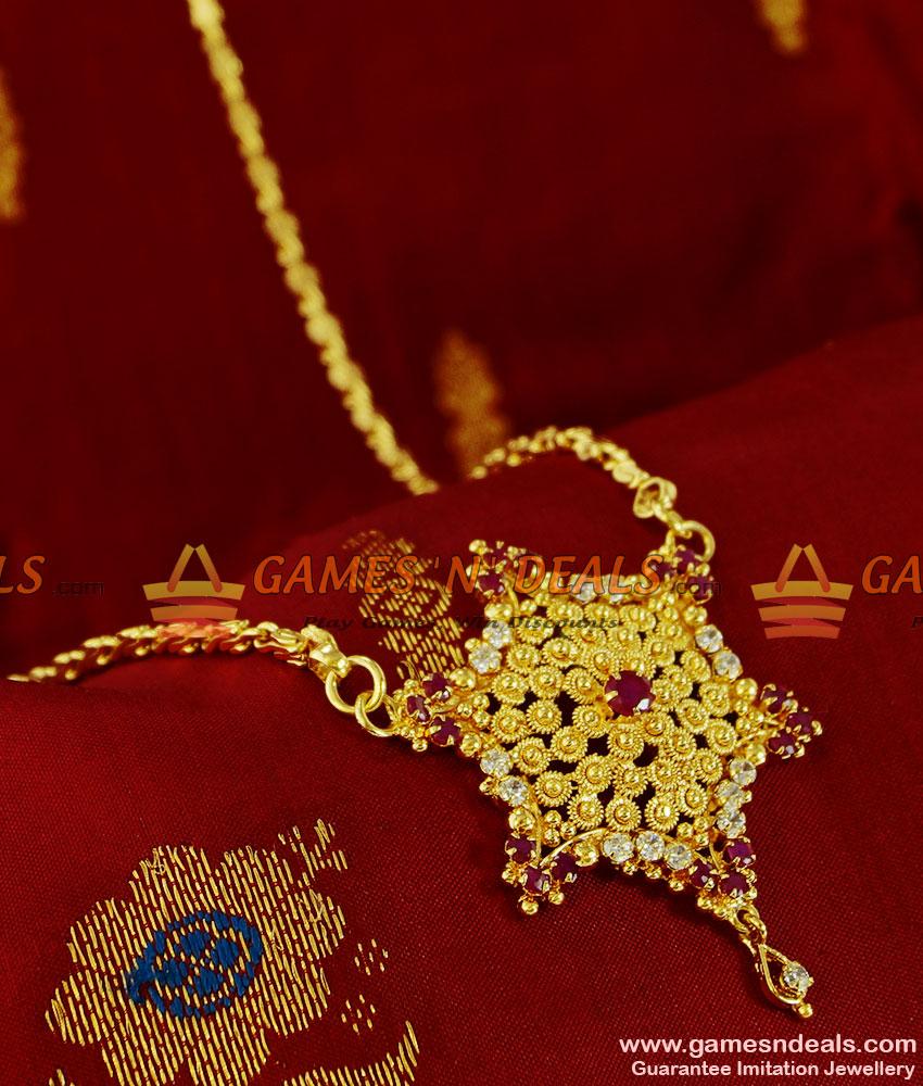 BGDR102 - Trendy Ruby Stone Party Wear Star Dollar Latest ...