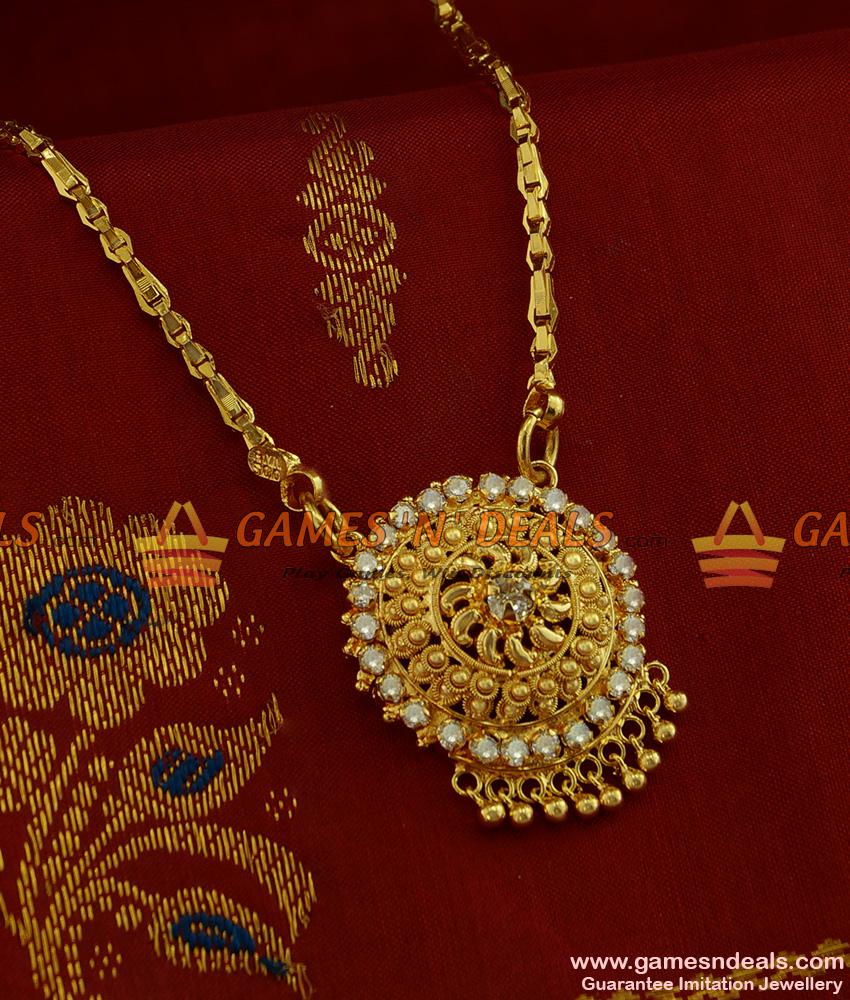 BGDR244 - Sparkling Semi Precious AD White Stone Dollar with Chain