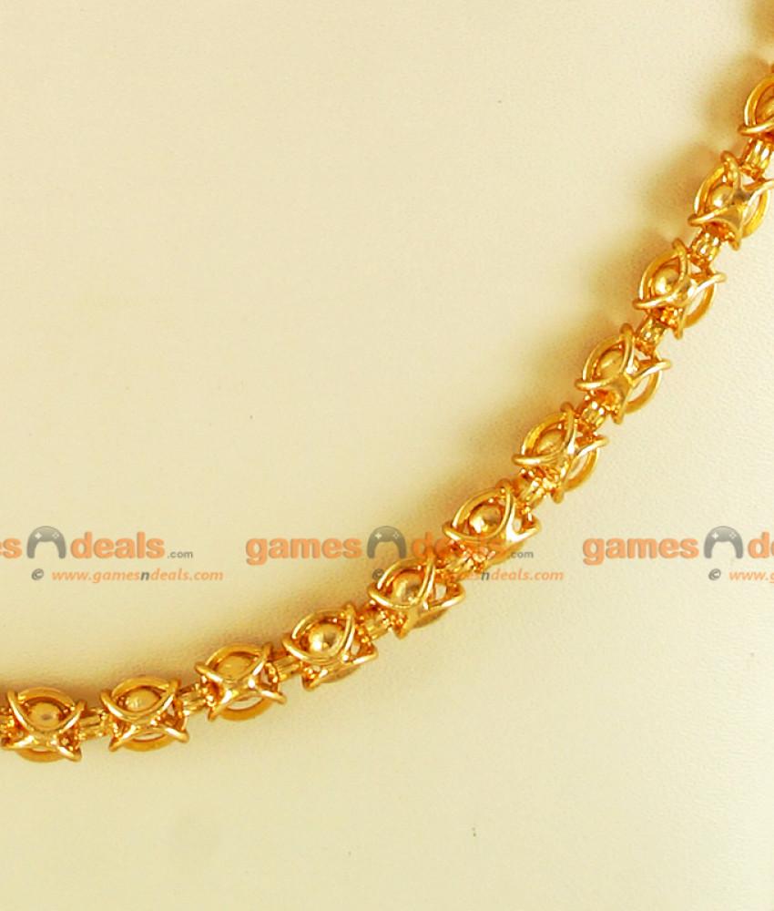 CKMN18 Gold Plated Traditional Kerala Imitation Chain Ball Design