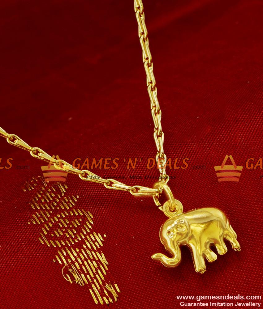 Gold Plated Fancy Elephant Pendant Design Short Chain Imitation ...