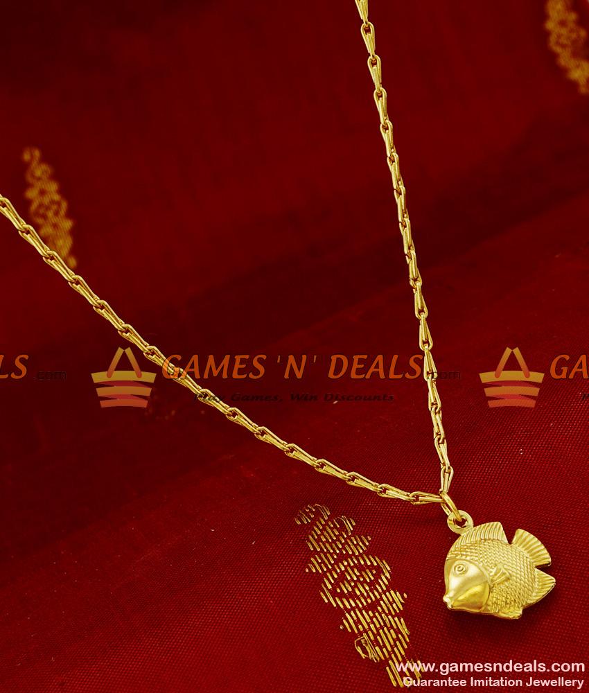 SMDR84 - Gold Plated 3D Fish Fancy Pendant Design Short Chain ...