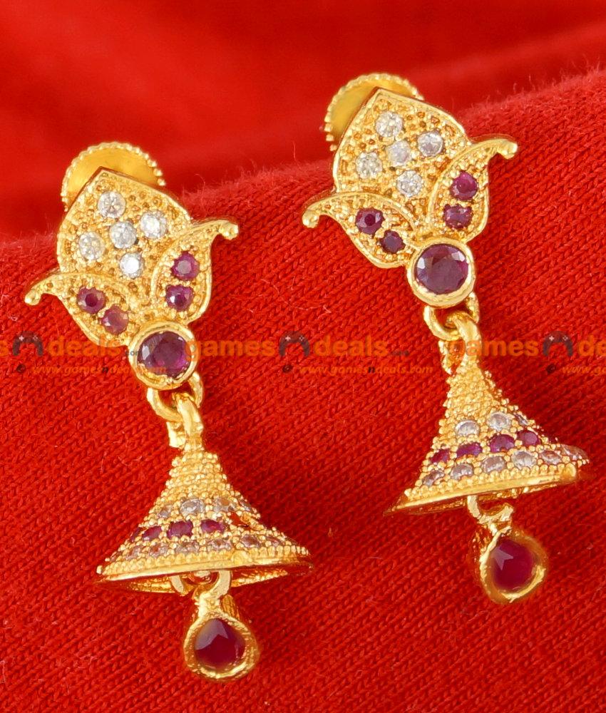 ER074 - Gold Plated Imitation Stone Ear Ring Trendy Latest Design