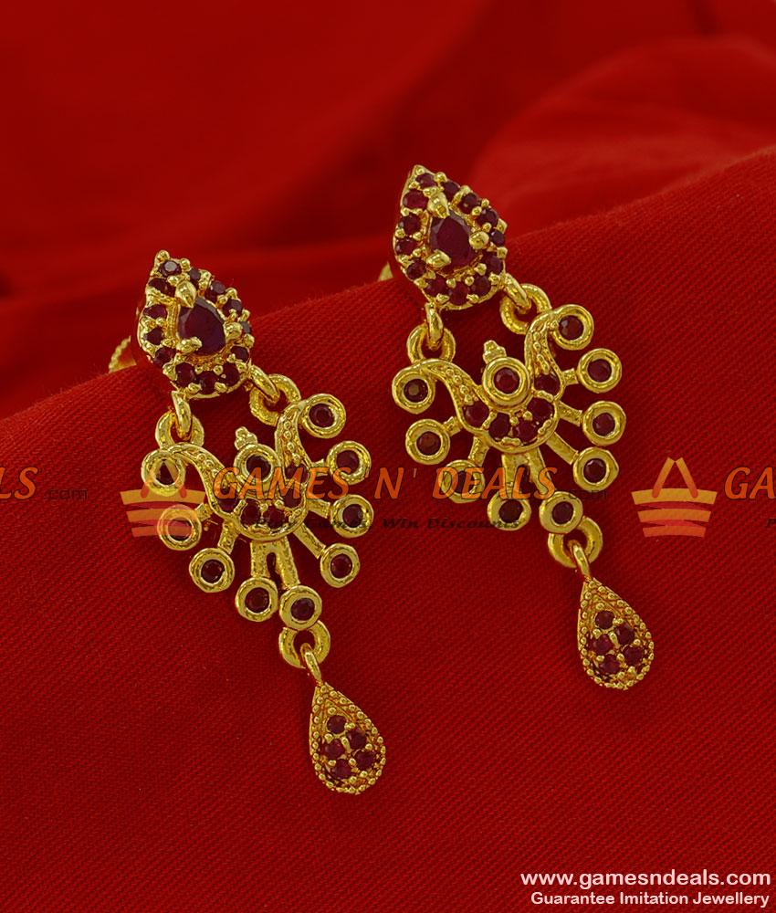 ER183 - Peacock Design Party Wear Zircon Stone Imitation Ear Ring ...