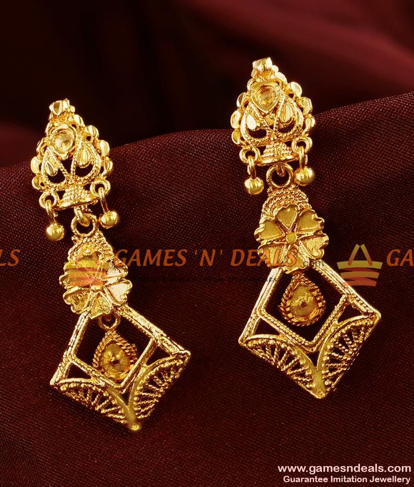 ER364 South Indian Long Gold Like Traditional Earrings Buy Online