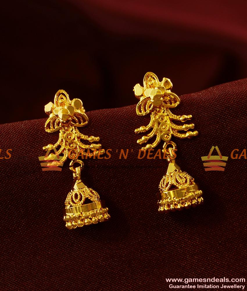 ER381 - Kerala Type Daily Wear Trendy Small Jhumki Imitation Ear Rings
