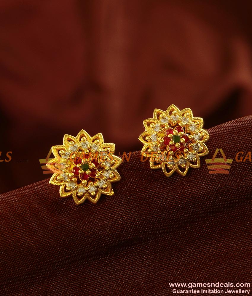 Flower Stud Jhumkhi Zircon Stone Guarantee Ear Rings Low Price Online