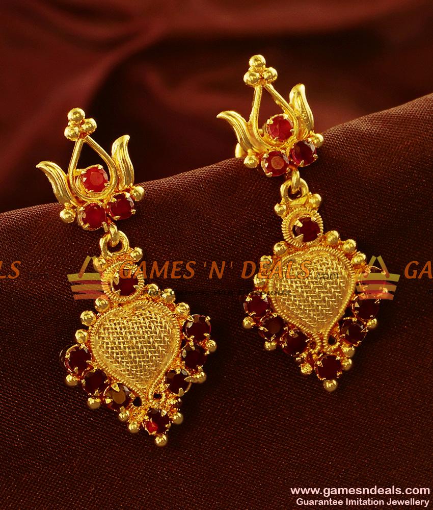 ER561 -  Semi Precious AD Stone Danglers Kerala Type Imitation Ear Rings