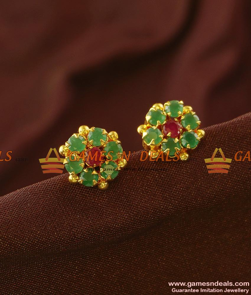 ER739 - Ruby Emerald Semi Precious AD Stone Guarantee Studs