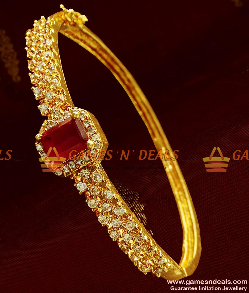 Grand Big Ruby Stone Design Imitation Bracelet for Women Online BRAC024