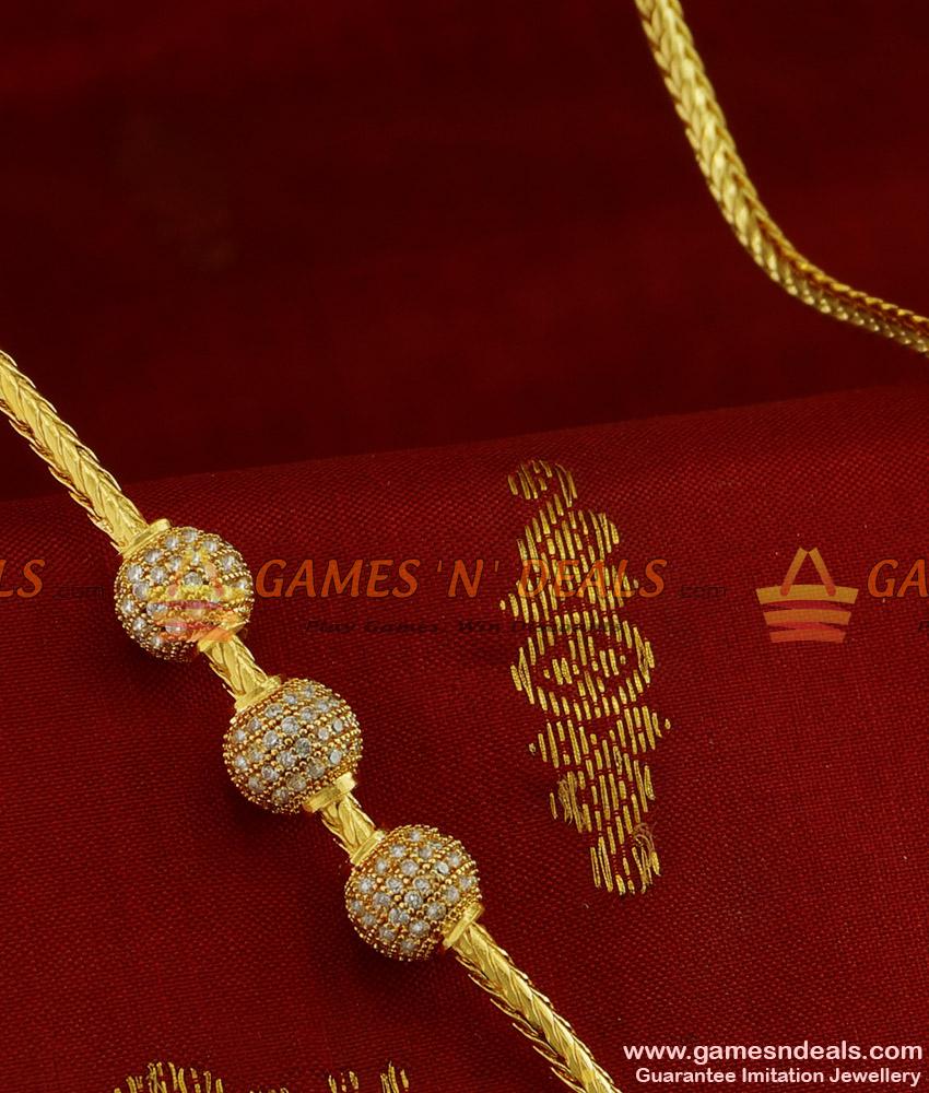 MCH071 - Beaded Zircon White Stone Mogappu Chain South Indian Imitation Jewelry