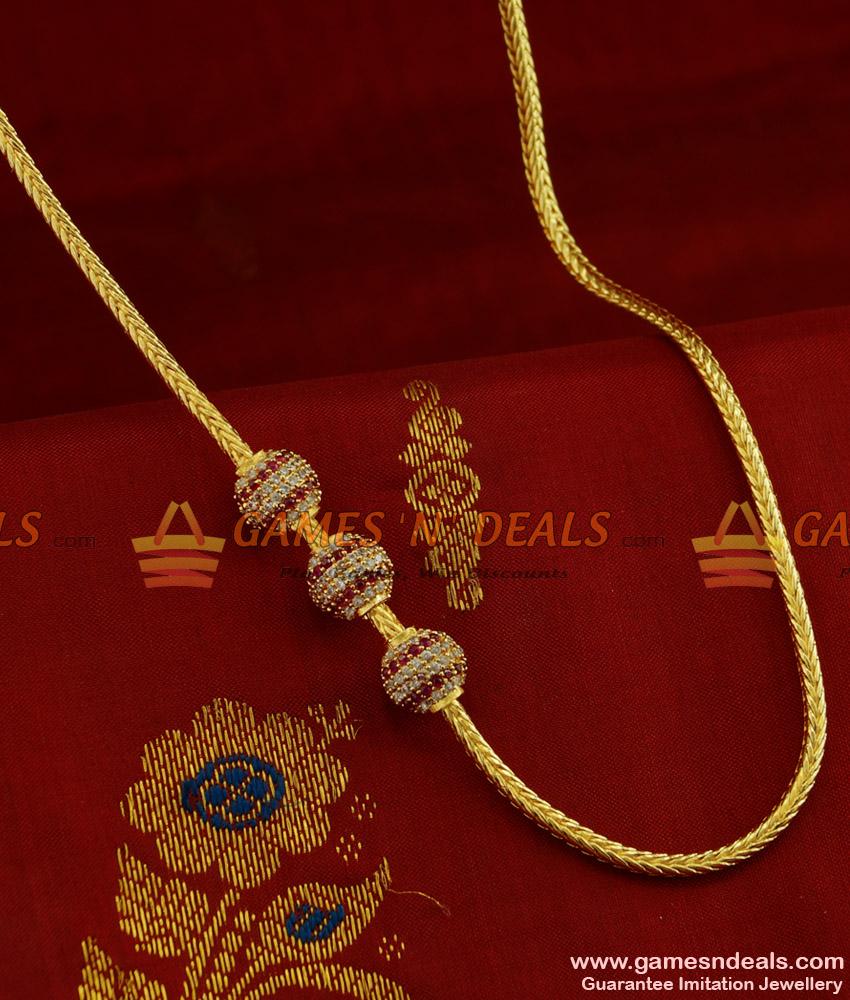 MCH072 - Beaded Zircon Stone Mogappu Chain Attractive South Indian Imitation Jewelry