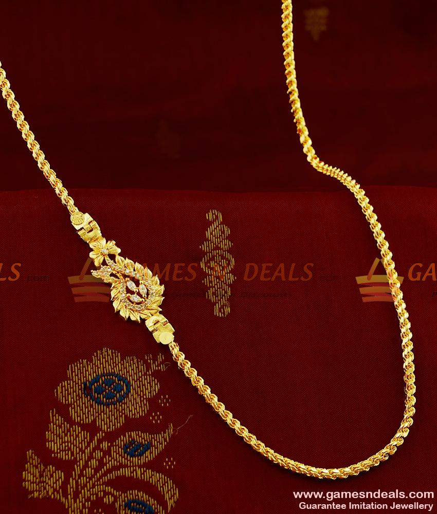 Chidambaraa 1 Gram Micro Gold Plated White AD Stone Mugappu Chain MCH089