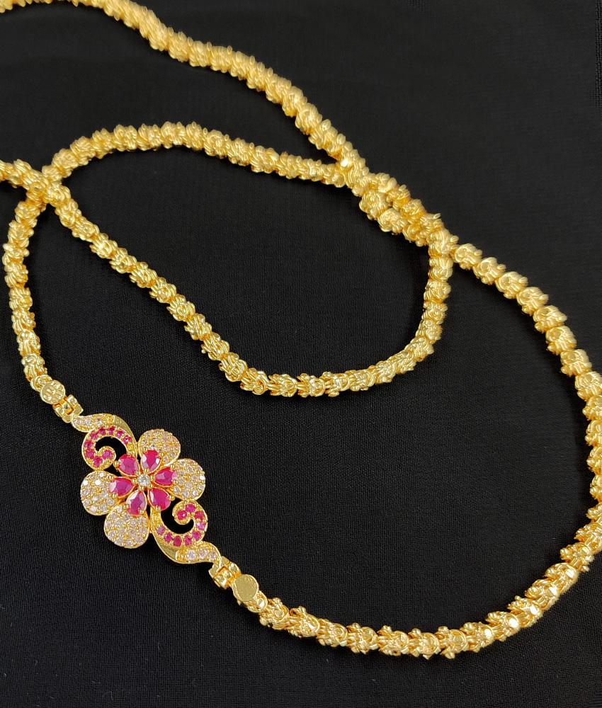 One Gram Micro Gold Plated Ruby AD Stone Mugappu Chain for Girls MCH109