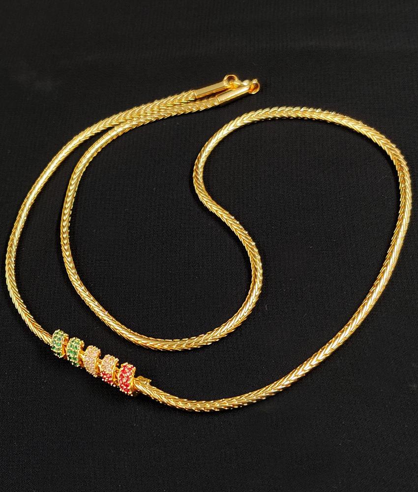 Multistone Side Pendant Gold Mugappu Design Chain MCH119