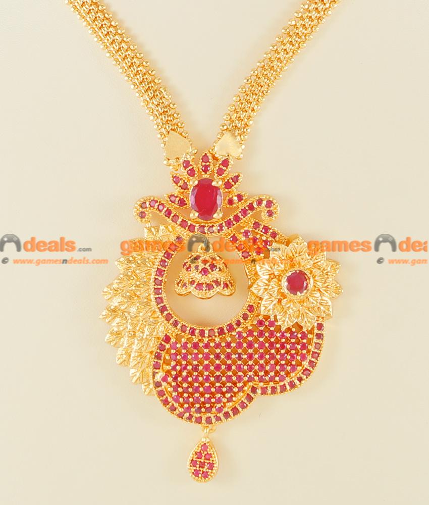 Nckn115 Semi Precious Ruby Stone Party Wear Big Flower