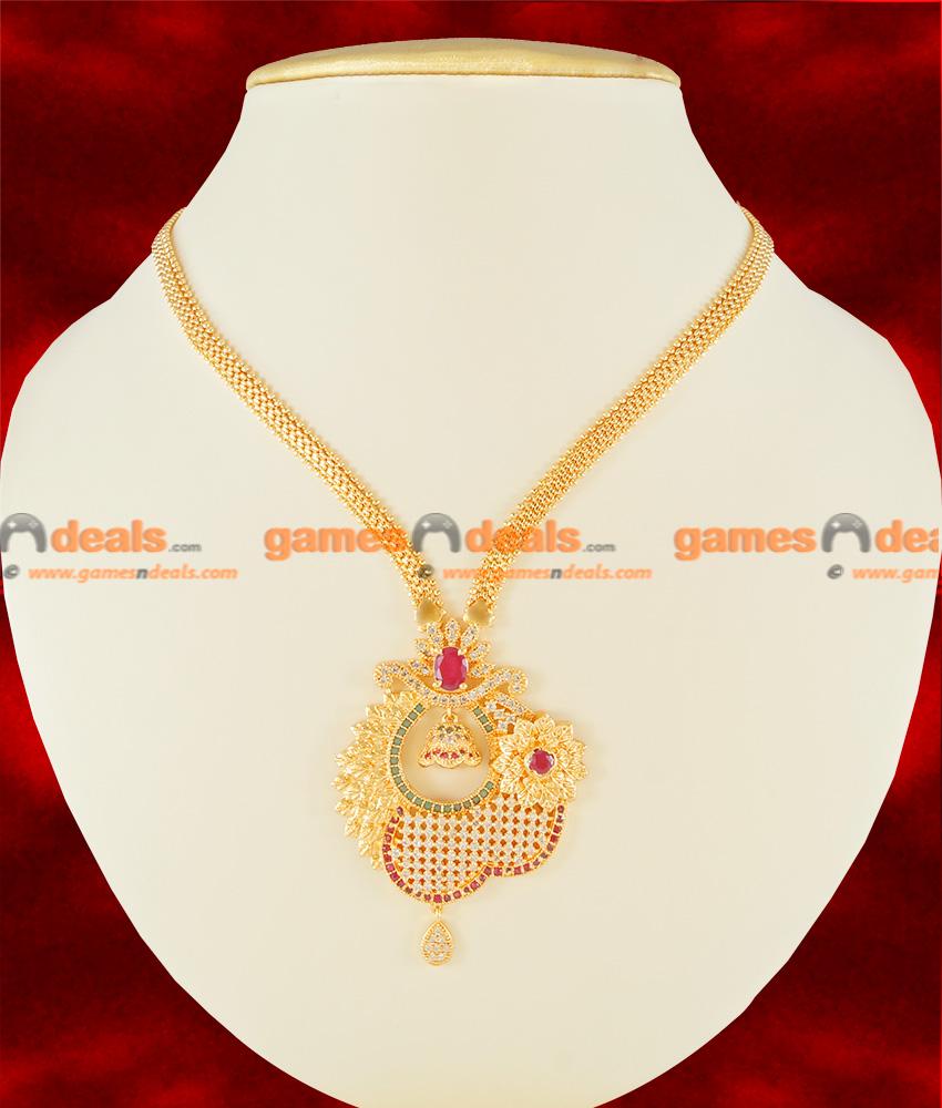 NCKN116 - Semi Precious Ruby Emerald Stone Big Flower Dollar ...