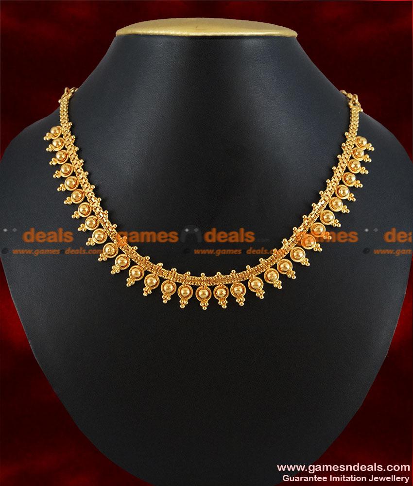 nckn135 gold plated attigai traditional beaded choker design jewelry