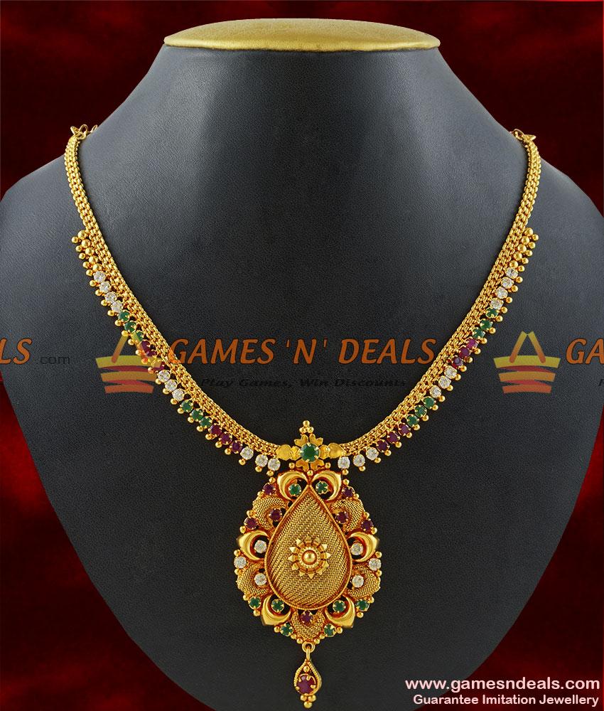 NCKN172 - Gold Plated Jewellery Kerala Type Party Wear Stone Necklace