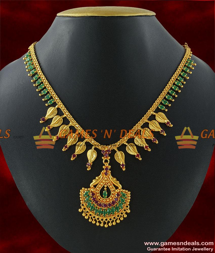 nckn213 cubic zircon stone necklace party wear handmade leaf