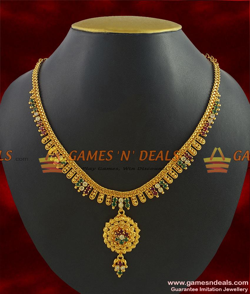 NCKN290 - Semi Precious Ruby Dollar With Trendy Leaf Design Kerala Necklace