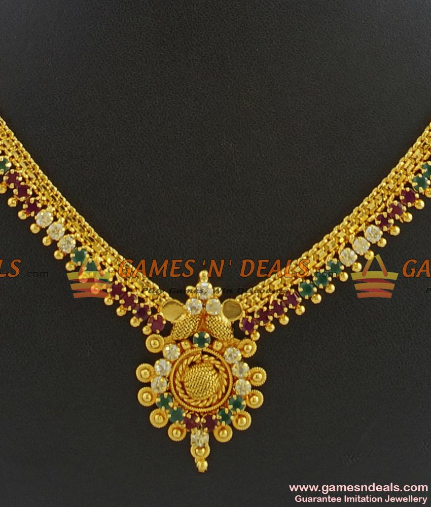 NCKN347 - Semi Precious AD Stone Guarantee Imitation Bridal Necklace