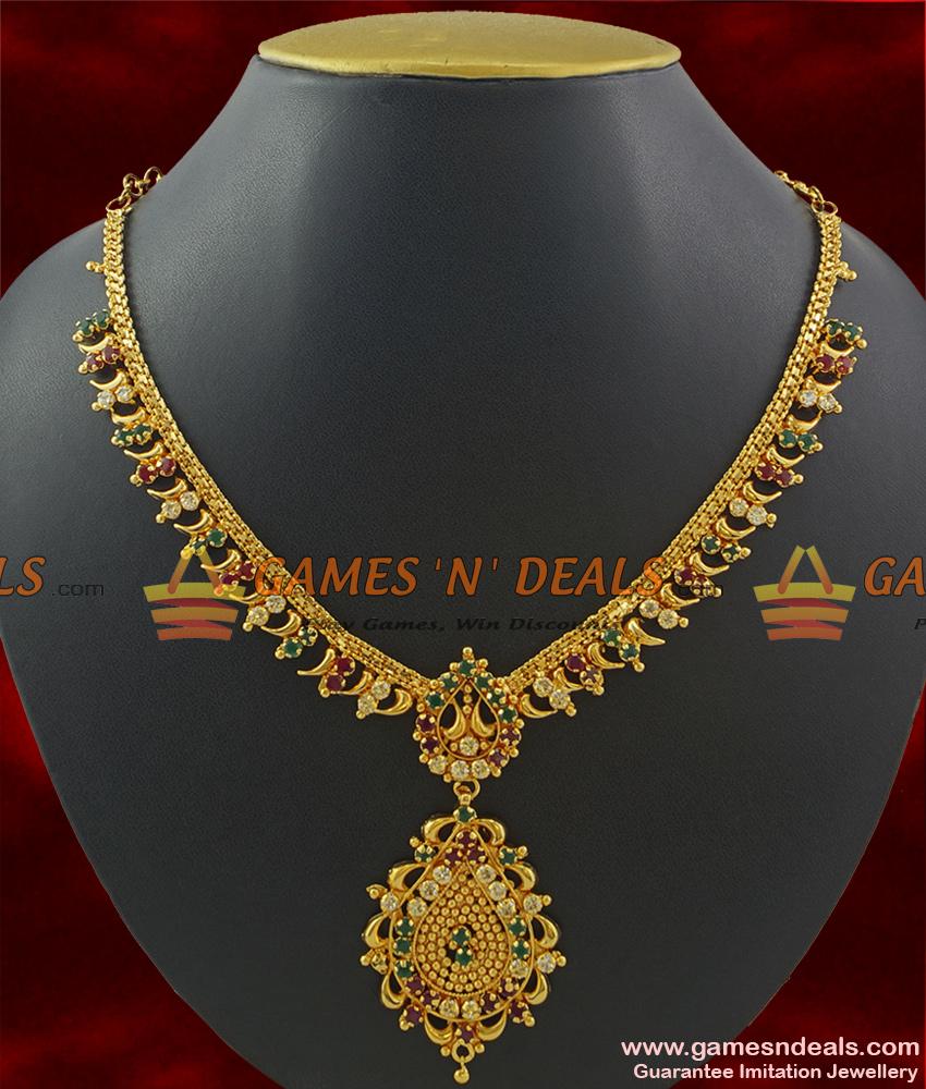 NCKN378 - Shinny Leafs Multi Color AD Stone Guarantee Imitation Necklace